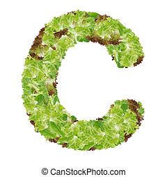 Letter C alphabet with hydroponics leaf ABC concept type as...