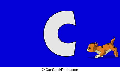 Letter C and Cat (foreground) - Animated animal alphabet....