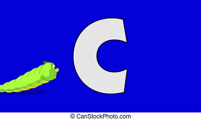 Letter C and Caterpillar (background) - Animated animal...