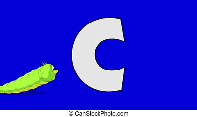 Letter C and Caterpillar (foreground) - Animated animal...