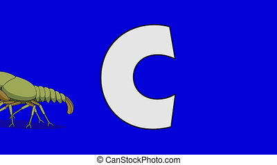 Letter C and Crayfish (background) - Animated animal...