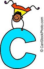 letter C boy - happy little ethnic boy balancing on giant...
