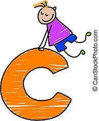 letter C boy - little boy climbing on a letter C
