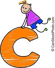 letter C boy - little boy climbing on a letter C