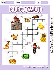 Letter C crossword template illustration