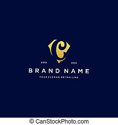 letter C diamond gold logo design