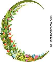 Letter C floral latin decorative character alphabet...