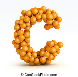 Letter C, font of orange citrus, white background - Letter...