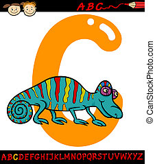 letter c for chameleon cartoon illustration