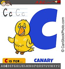 letter C from alphabet with cartoon canary bird