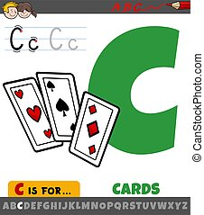 letter C from alphabet with cartoon cards