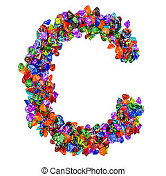 Letter C from colored gemstones. 3D rendering