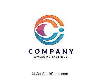 Letter C gradient color technology logo