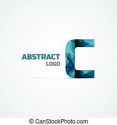 Letter C icon design element - Blue triangular letter C icon...