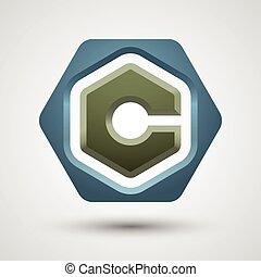 Letter C logo. Contains transparent object.
