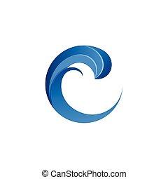 Letter C logo wave blue