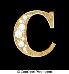 Letter C of gold and diamond