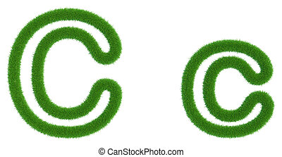 Letter C of green fresh grass isolated on a white background.