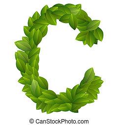 Letter C of green leaves alphabet
