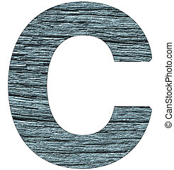 Letter C of the alphabet, with wood texture in blue color