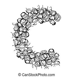 Letter C, people crowd, vector alphabet design