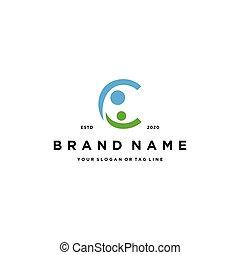 letter C people design logo concept