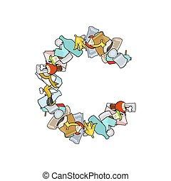 Letter C Rubbish. Trash font. garbage alphabet. Lettering litter