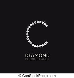 Letter C with gemstones. Luxury Diamond alphabet, Vector illustration