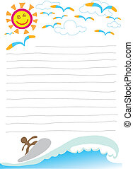 Illustration beautiful day on beach with windsurf note paper