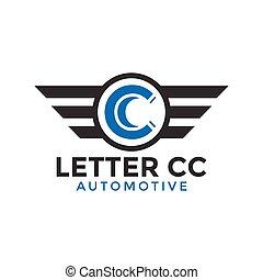 Letter cc automotive wing logo icon design template