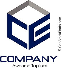letter CE box logo - C, E, CE letter Business design...