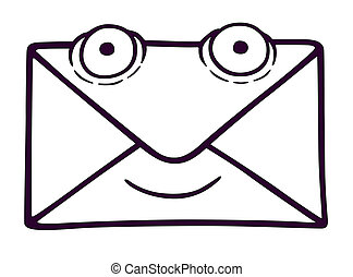 Letter with eyes, vector illustration