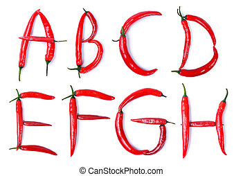 letter composed of chili peppers - The letter A, B, C, D, E,...