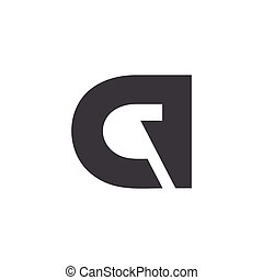 letter cq abstract negative space logo