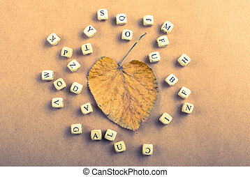 Letter cubes of made of wood around leaf