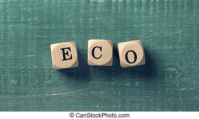 Letter cubes with word eco