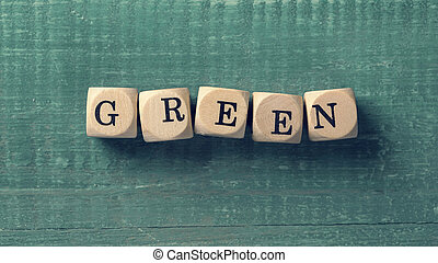Letter cubes with word green