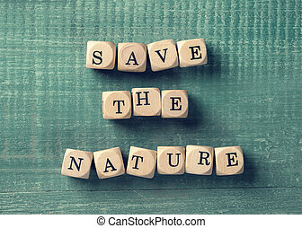 Letter cubes with word save the nature