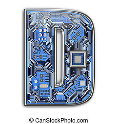 Letter D.  Alphabet in circuit board style. Digital hi-tech letter isolated on white.