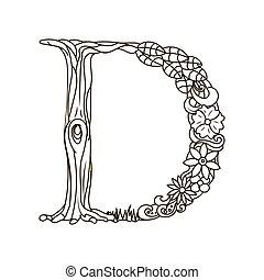 Letter d zentangle for coloring vector decorative object hand letter d coloring book for adults vector altavistaventures Images