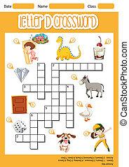 Letter D crossword template illustration