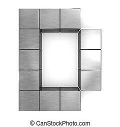 letter D cubic metal