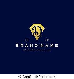letter D diamond gold logo design