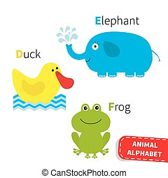 Letter D E F Duck Elephant Frog Zoo alphabet. English abc with animals Education cards for kids Isolated White background Flat design