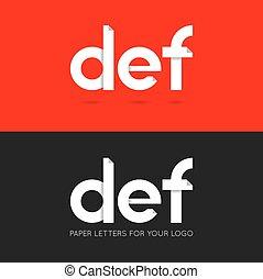 letter D E F logo paper set background