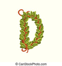 Letter D, English alphabet made of tree branches, ecology element for banner, card, label, presentation or poster vector Illustration