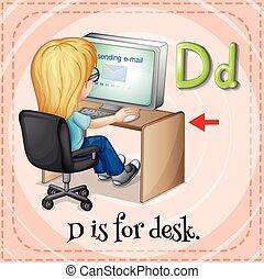 Letter D - Flashcard letter D is for desk