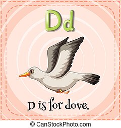 Letter D - Flashcard letter D is for dove