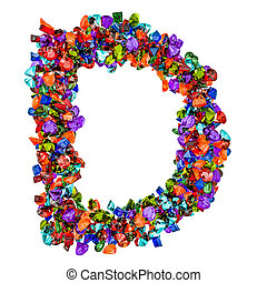 Letter D from colored gemstones. 3D rendering