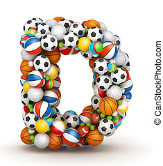 Letter D, gaming balls alphabet - Letter D, stacked from...